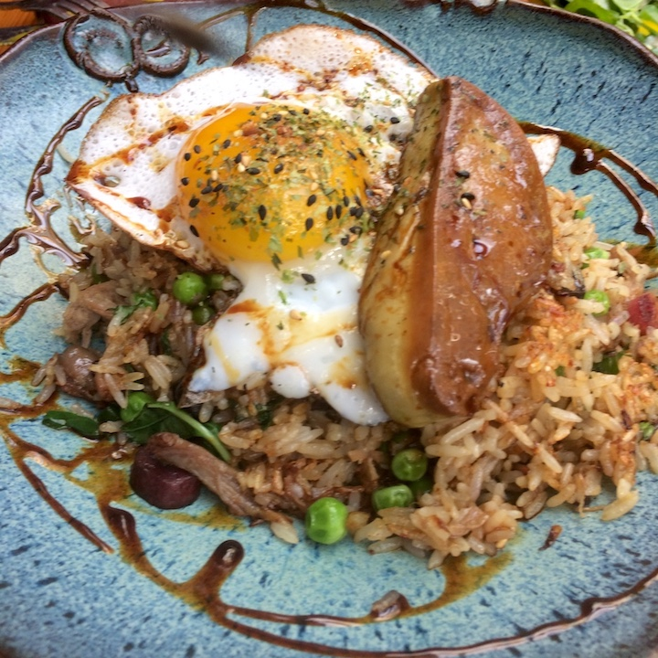 Sugarcane foie gras fried rice