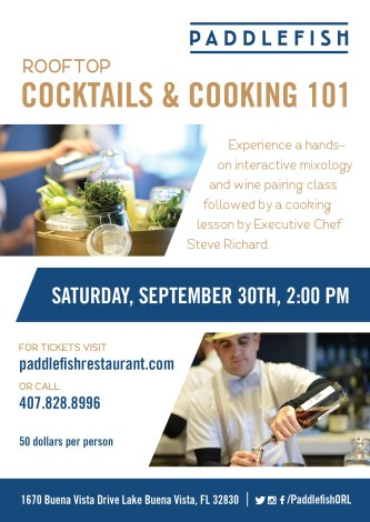 Paddlefish Orlando September Events - Rooftop Cocktails & Cooking 101