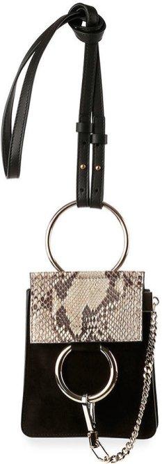 Chloé 'Faye' Python & Suede Mini Crossbody Bag
