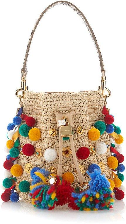Dolce & Gabbana 'Claudia' Pom Pom Bucket Bag