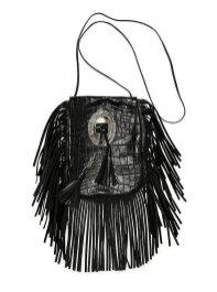 Saint Laurent 'Anita' Croc-Stamped Fringe Crossbody Bag