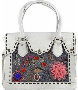 Vintage Addiction Hand Beaded and Embroidered Leather Bag