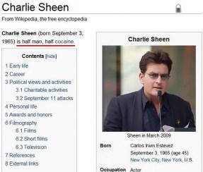 Charlie Sheen je pol človek pol kokain.