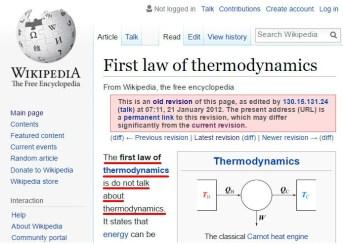Prvi zakon termodinamike je: ne govori o termodinamiki.