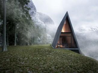 Trikotni dom na strmem klifu