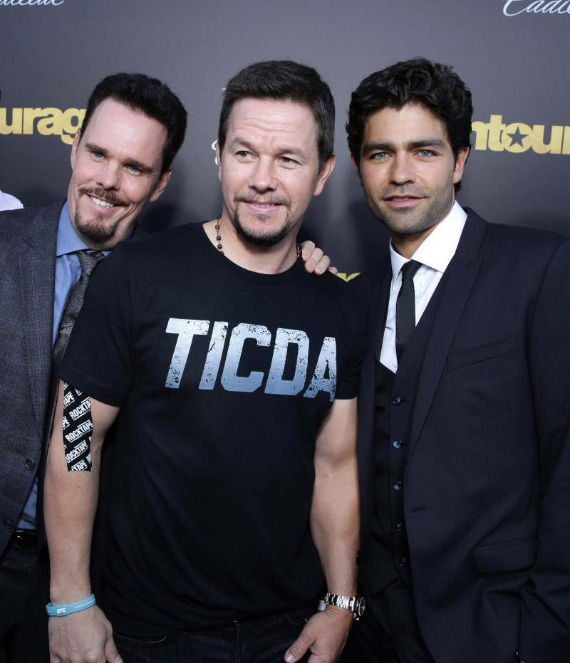 "Johnny Alves, Kevin Dillon, Mark Wahlberg and Adrian Grenier seen at Warner Bros. Premiere of ""Entourage"" held at Regency Village Theatre on Monday, June 1, 2015, in Westwood, Calif. (Photo by Eric Charbonneau/Invision for Warner Bros./AP Images)"