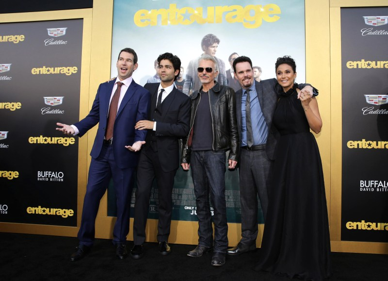 "Writer/Director/Producer Doug Ellin, Adrian Grenier, Billy Bob Thornton, Kevin Dillon and Emmanuelle Chriqui seen at Warner Bros. Premiere of ""Entourage"" held at Regency Village Theatre on Monday, June 1, 2015, in Westwood, Calif. (Photo by Eric Charbonneau/Invision for Warner Bros./AP Images)"