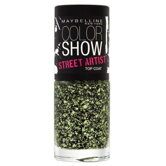 Maybelline Color Show Nail Polish Boom Box Black 01, Green Nail Polish, Top Coat