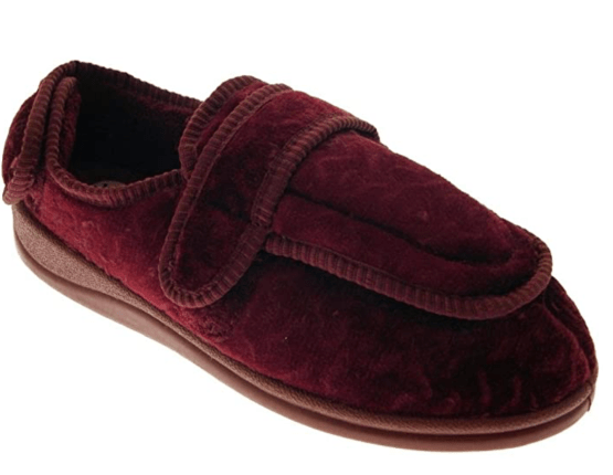 Ladies Orthopaedic Slippers, Burgundy Womens Slippers, Wide Fit, Swollen Feet, Broken Foot