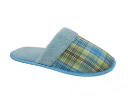 Ladies Blue Tartan Closed Toe Mule Slippers, Tartan Gifts