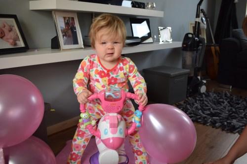 Baby on Bounce adn Spin Zebra