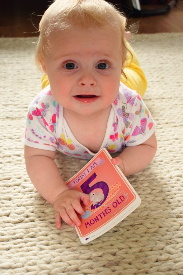 Baby lying on her tummy holding a card, which says 'today I am 5 months old