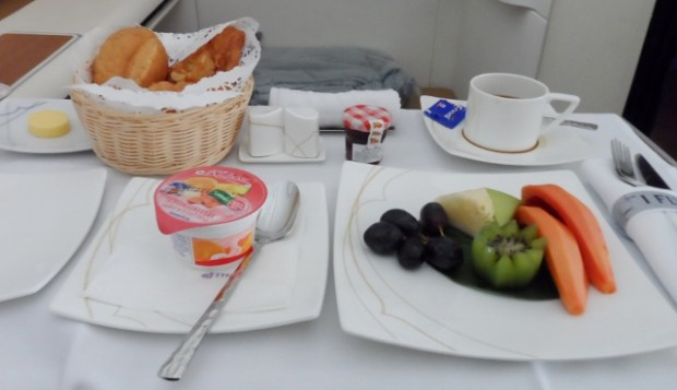 Thai Airways First Class A380 breakfast fruit