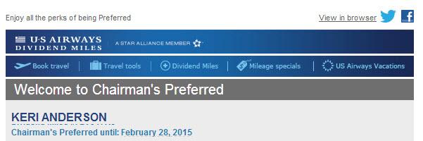 US Airways Chairman's Dividend Preferred
