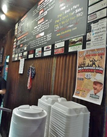 Black's BBQ Menu Lockhart, TX