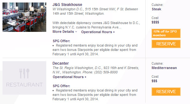 SPG twice as nice promotion DC restaurants