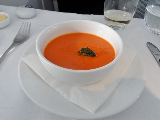Austrian Airlines Business Class creamy tomato soup