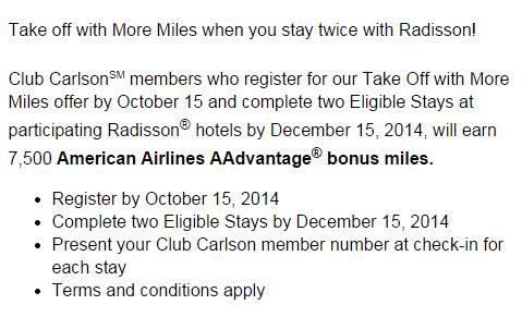 american aadvantage miles radisson fall promotion