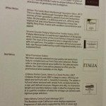 Cathay Pacific First Class JFK YVR Wine menu options