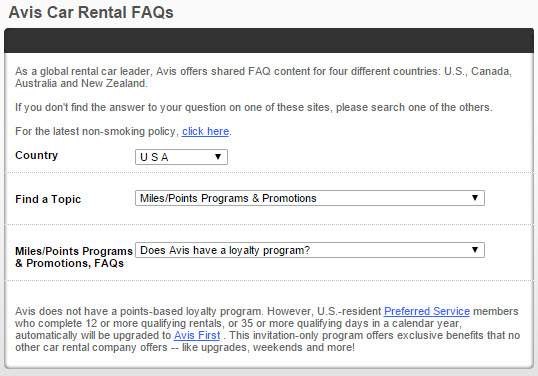 Avis Loyalty Program FAQ screenshot 7.6.15