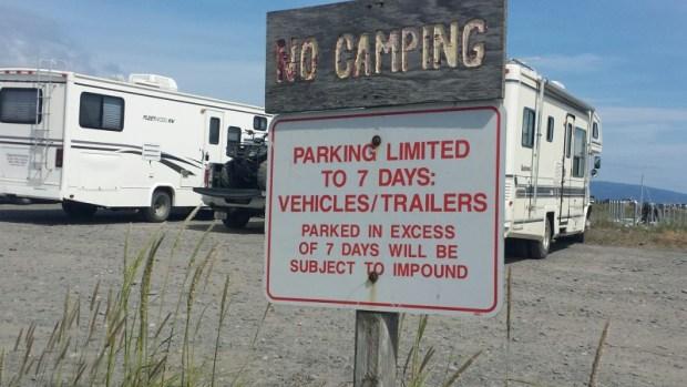 Homer Spit Alaska Parking Sign