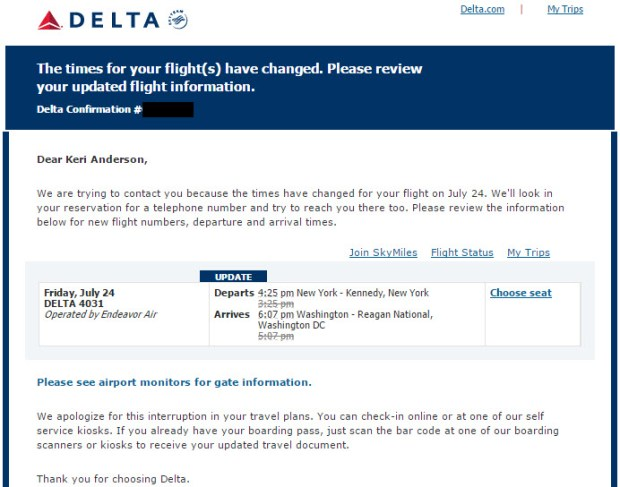 delta award reservation with no ticket flight delay email alert