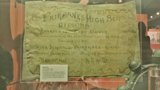 Fairbanks Museum of the North moose hide diploma