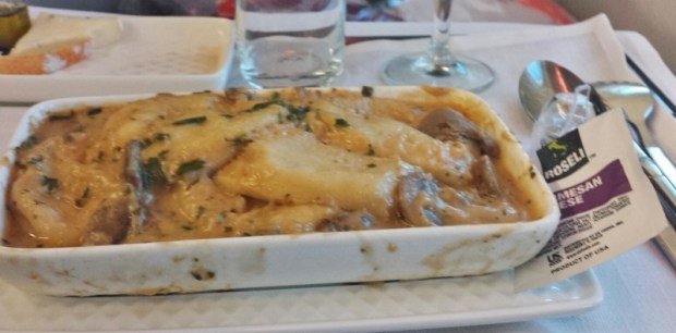 Iberia business class review jfk-mad ravioli dinner entree