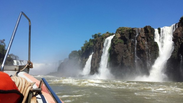 Speedboat headed towards Iguazu Falls