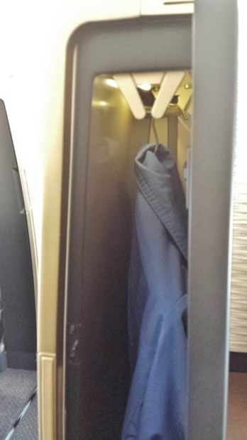 Etihad A380 First Apartment JFK-AUH inaugural coat closet