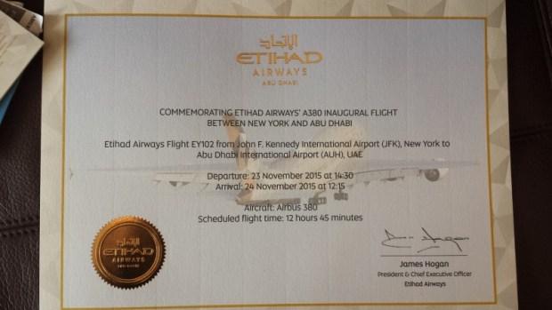 Inaugural Etihad A380 JFK AUH certificate