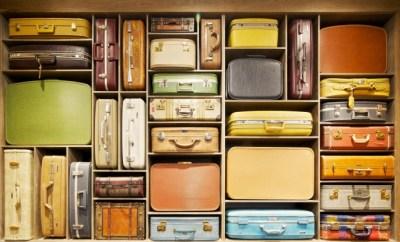 Starbucks Dulles IAD Vintage suitcase wall