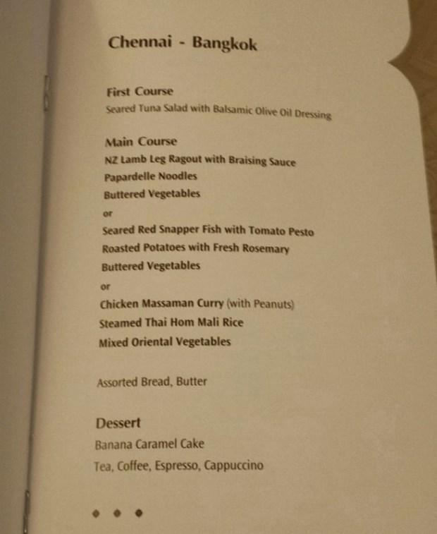 Thai Airways Business Class Chennai Bangkok dinner menu