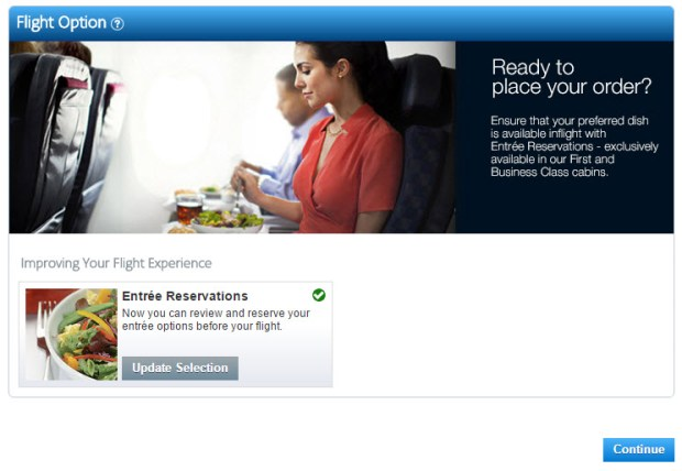 american airlines november pre-order meal option