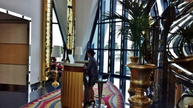 Burj Al Arab hotel skyview bar check in desk