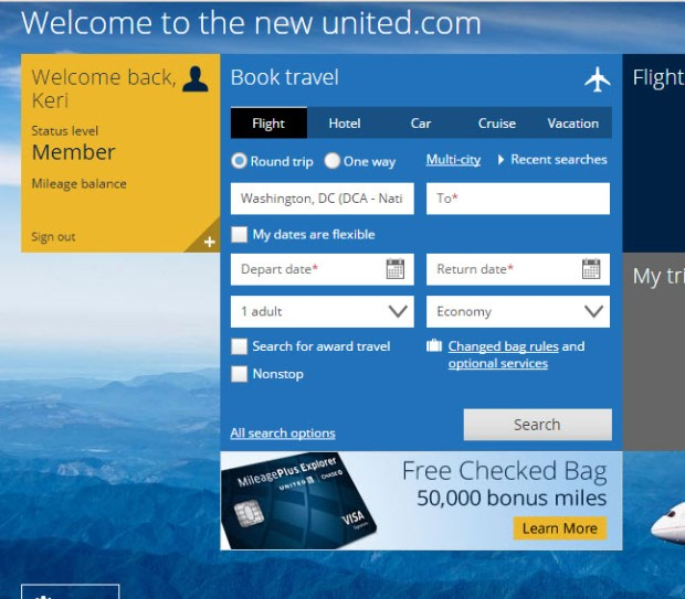 united mileageplus explorer 50K logged in