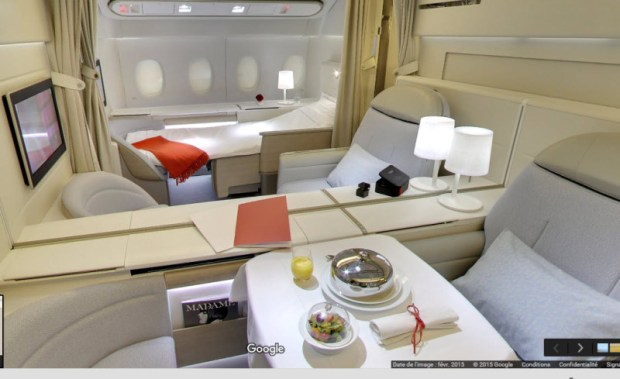Air France 777 first class cabin google street view
