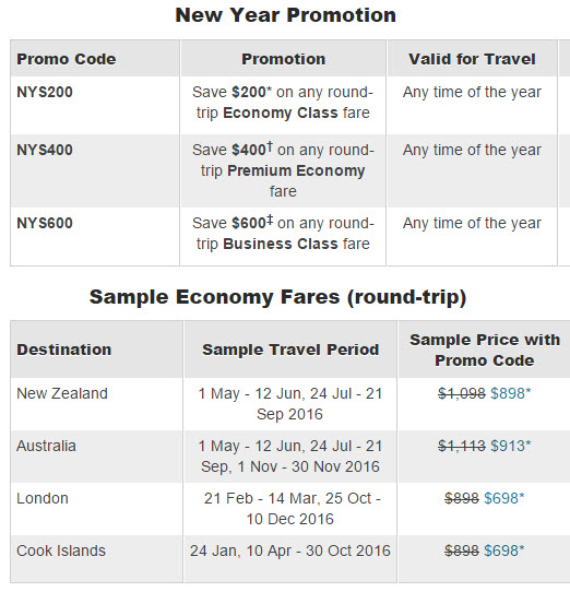 Air New Zealand New Year Sale