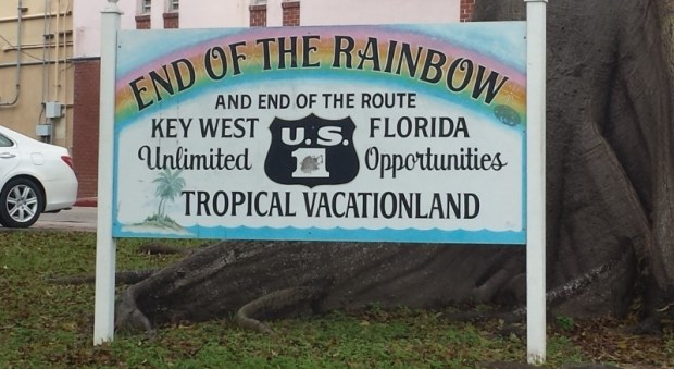 Key West end of rainbow sign end of rt 1