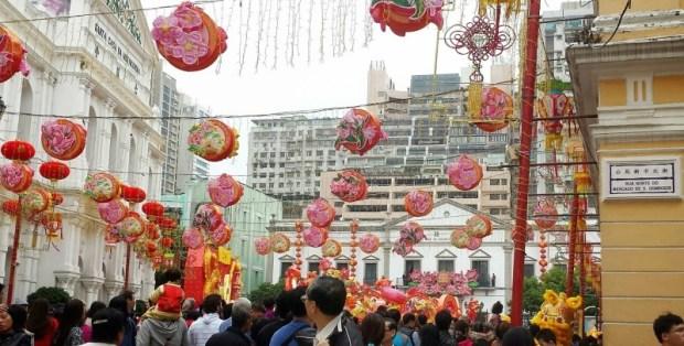 Chinese New Year Macau Senado Square Celebration crowds