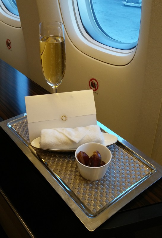 Etihad First LAX AUH welcome drink