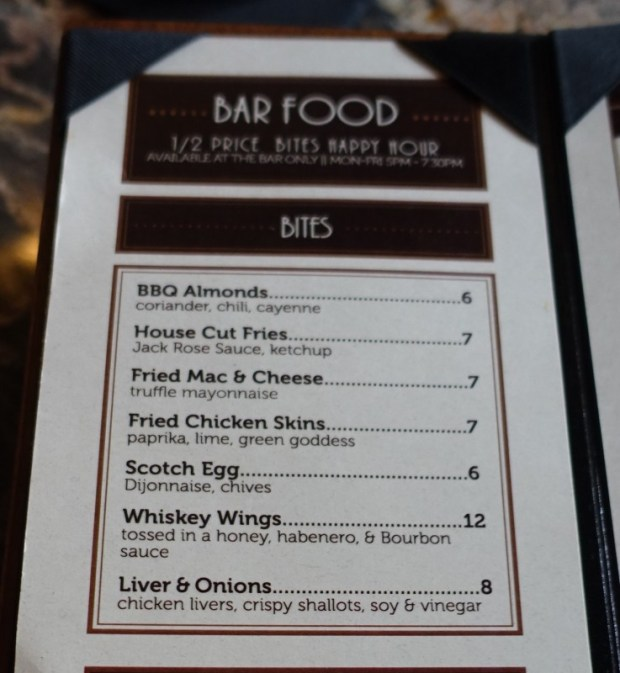 Jack Rose DC happy hour specials food