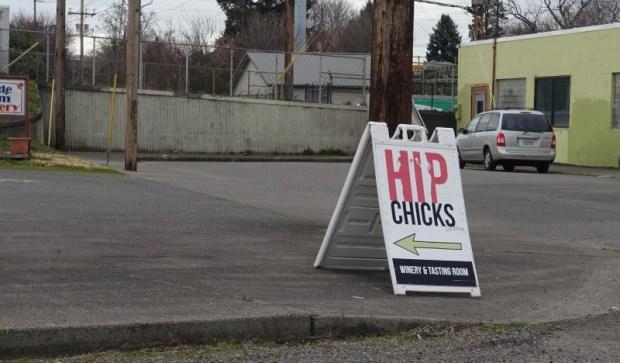 Portland Urban Wineries Hip Chicks Do Wine signage
