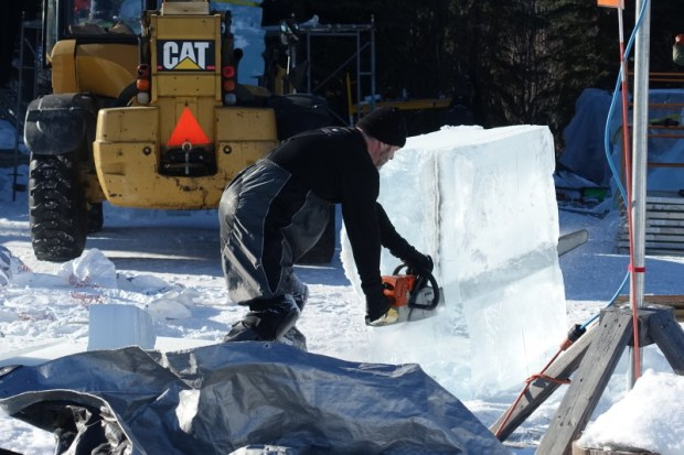 Fairbanks Ice Park Ice Scuplture Championships chainsaw