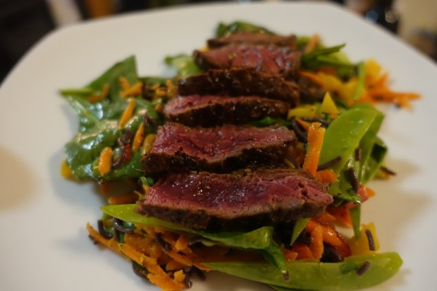 Green Chef review ginger tamari steak ramen salad