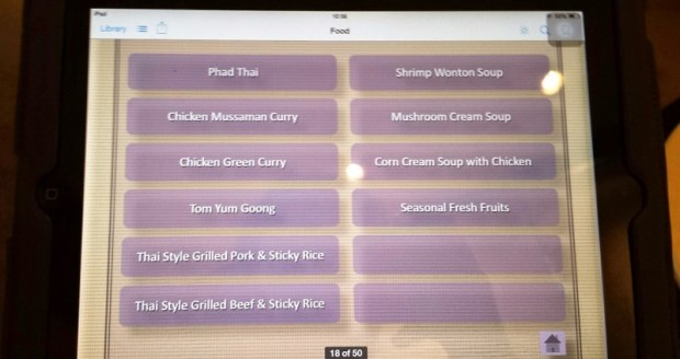 Thai First Class Lounge Bangkok tablet menu