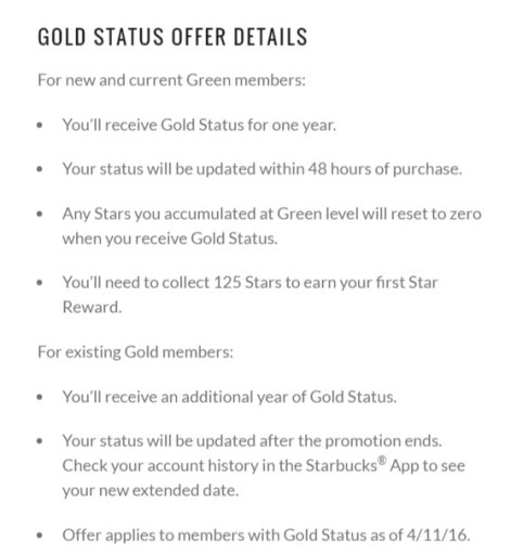 free starbucks gold status offer