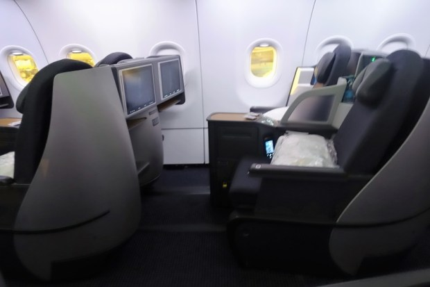 view of american airlines a321 lie flat business seats