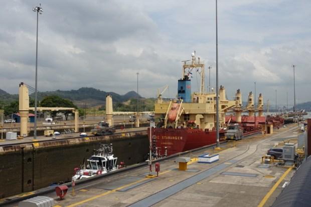 Miraflores Locks Panama Canal boat in lock