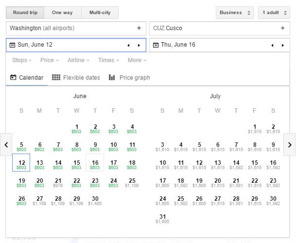 google flights machu picchu biz class